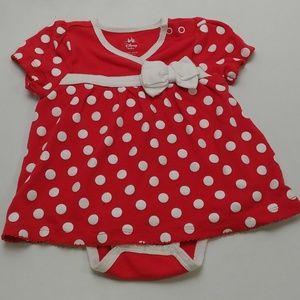 Disney Baby Red and White Polka Dot Dress 12-18m